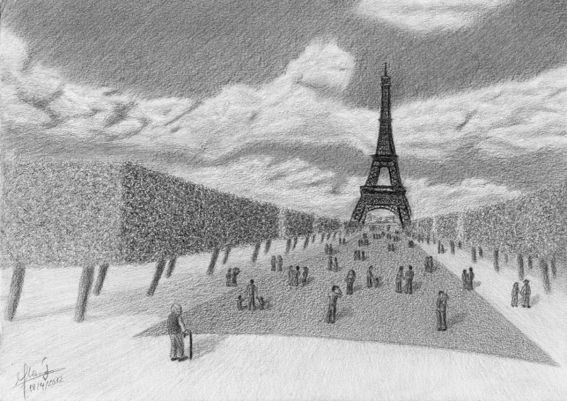 A drawing of an old man standing outside the crowd in from og the Eiffel Tower. An original artwork by Muhammad Moneib.