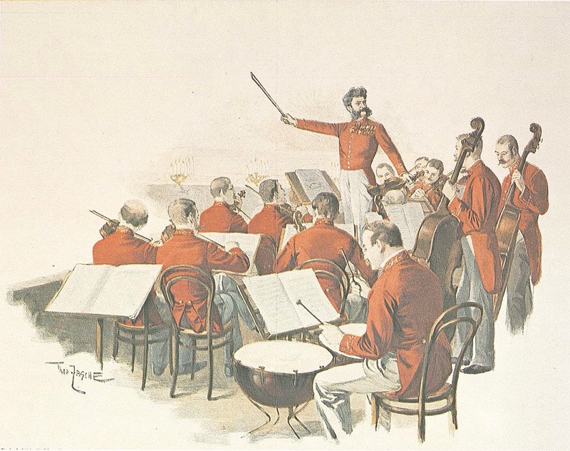 Johann Strauss II conducting the imperial orchestra.