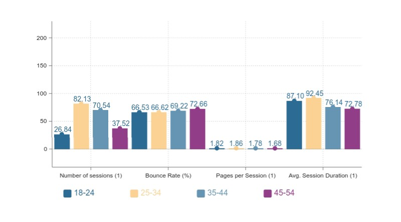 A bar chart that shows average values of variables for users from different age groups