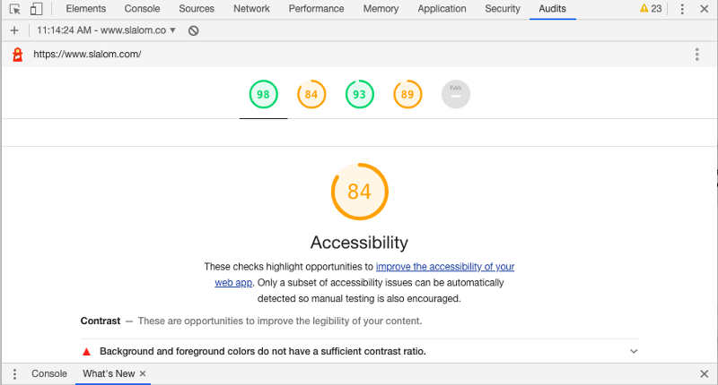 Accessibility Audit found in Chrome Developer Tools