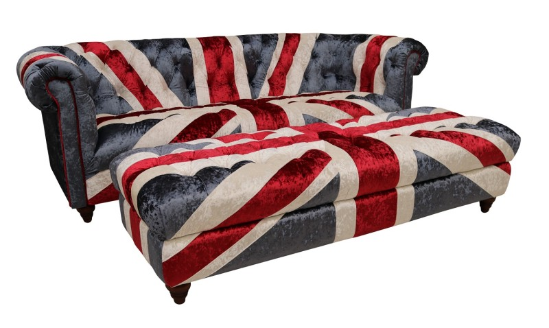 A Chesterfield settee with Union Jack design covering (!)