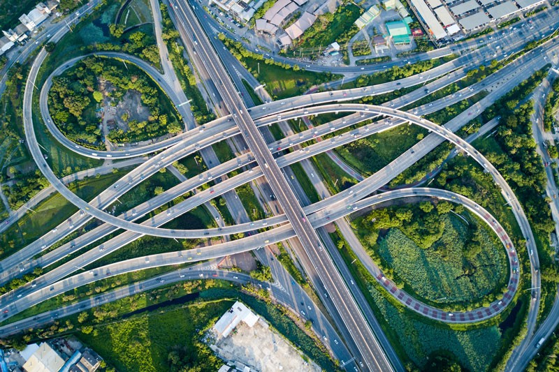 An aerial shot of a large freeway interchange