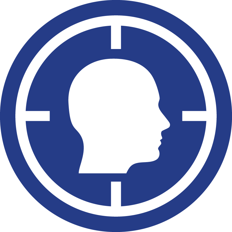 The ad-hominem icon, a human head in crosshairs.