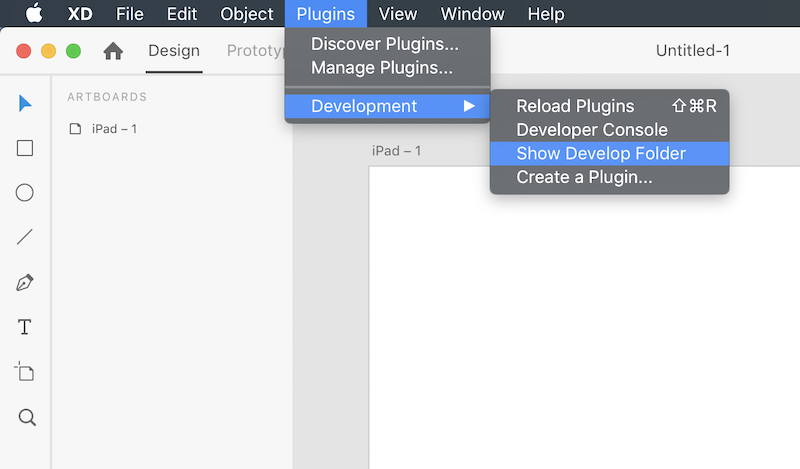 Adobe XD Developer's Menu