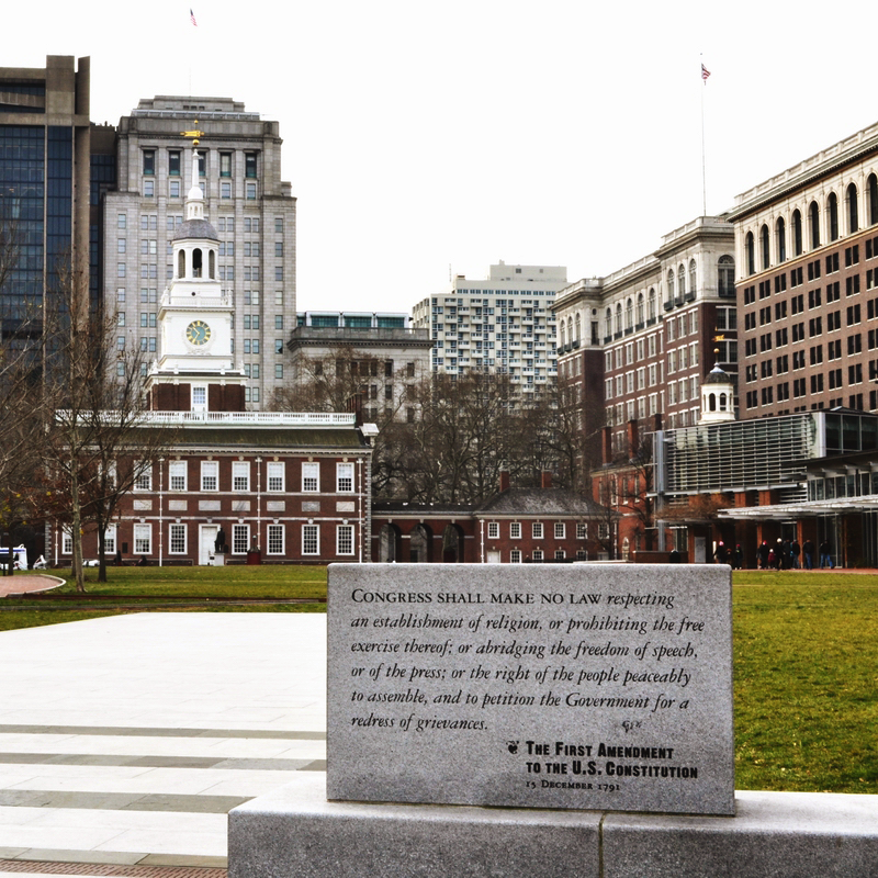 Inscription of the First Amendment (December 15, 1791) in front of Independence Hall in Philadelphia