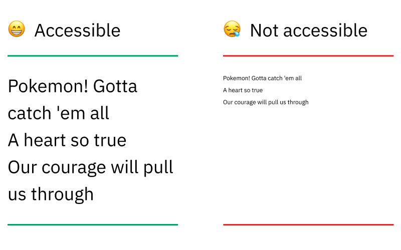 Graphic image comparing [😁Accessible] option on left with big text and [😪Not accessible] option on right with small text.