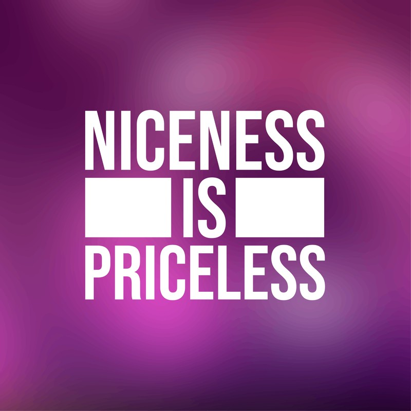 Purple sign with white letters stating niceness is priceless.