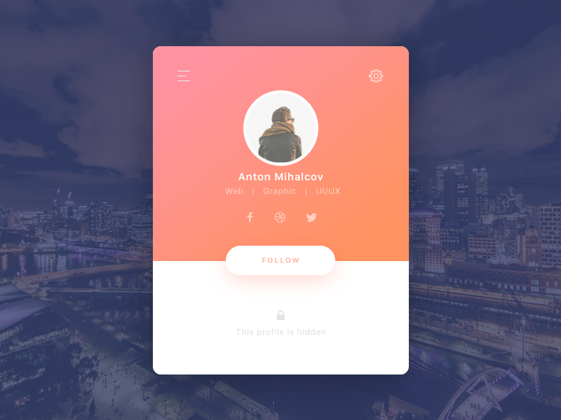 50 User profile page — Design Inspiration - Muzli - Design