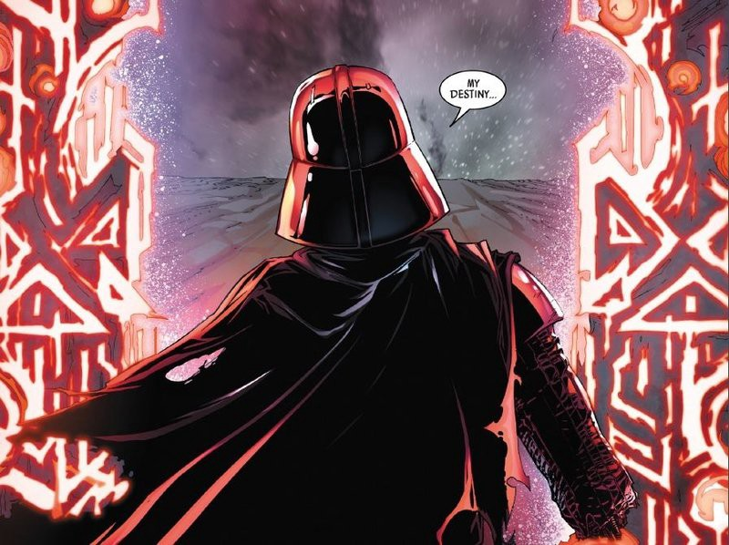 Vader looks at a portal to the Darkside.