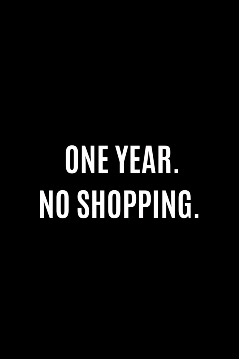 Plain black background with white text that reads: One Year. No Shopping.