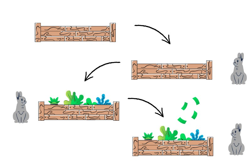 Fence -> fence and rabbit -> fence, rabbit, and garden -> fence, rabbit, garden, money