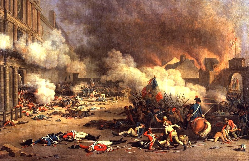 French revolutionaries attacking the Tuileries palace. There are many dead soldiers in the foreground.