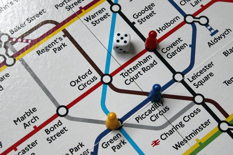 Tube map with dice and pawns