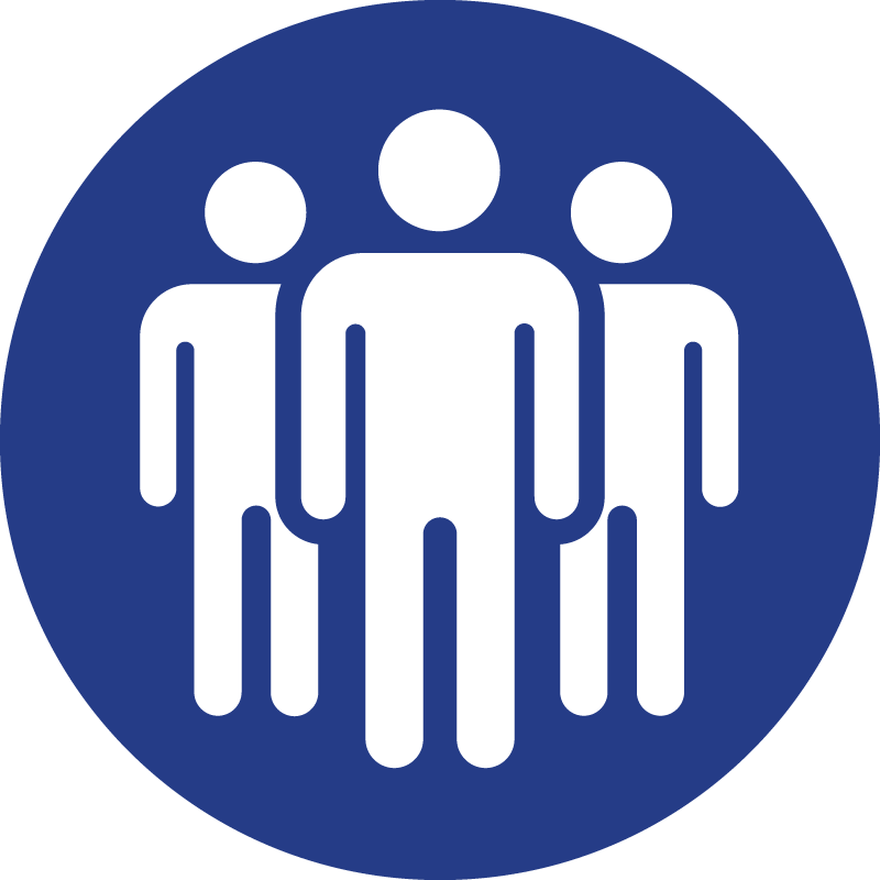 The bulk fake experts icon: a group of three human figures.