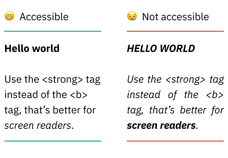 Graphic image: [😁Accessible] option on left with simple bold and italics, [😪Not accessible] option on right with too many.