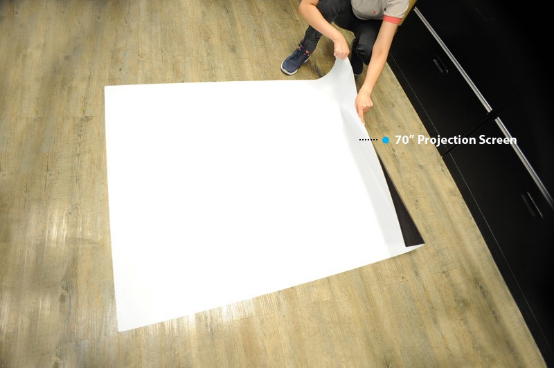 Placing the Projection Screen over the wood flooring