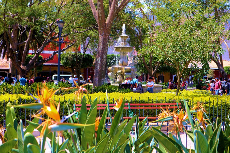 A bustling urban square in Antigua with fountains, flowers, and benches