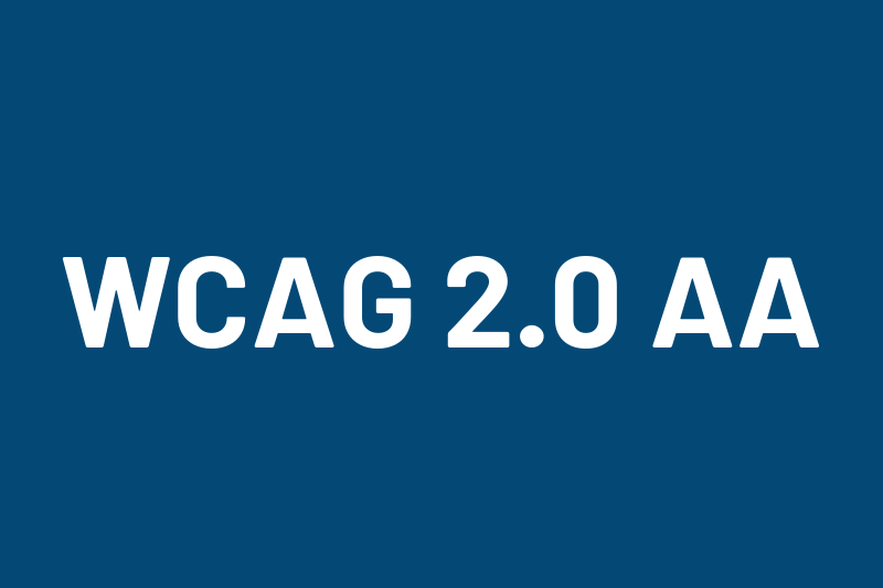 Blue poster-card that says WCAG 2.0 AA.