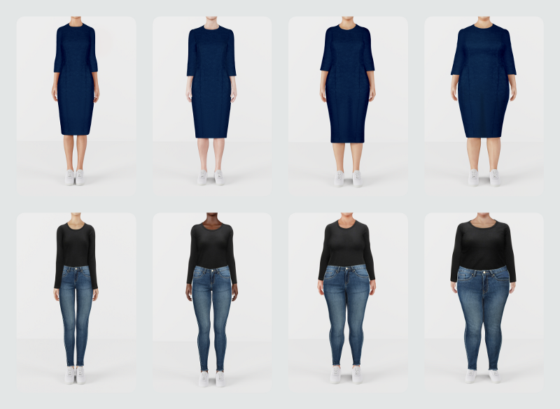 AI in Retail 2020: AI-generated models showing garments on models of various sizes