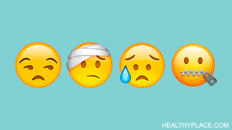 A selection of four emojis on a blue background. One bored face, one head bandage, one sad, and one emoji with a zipper mouth