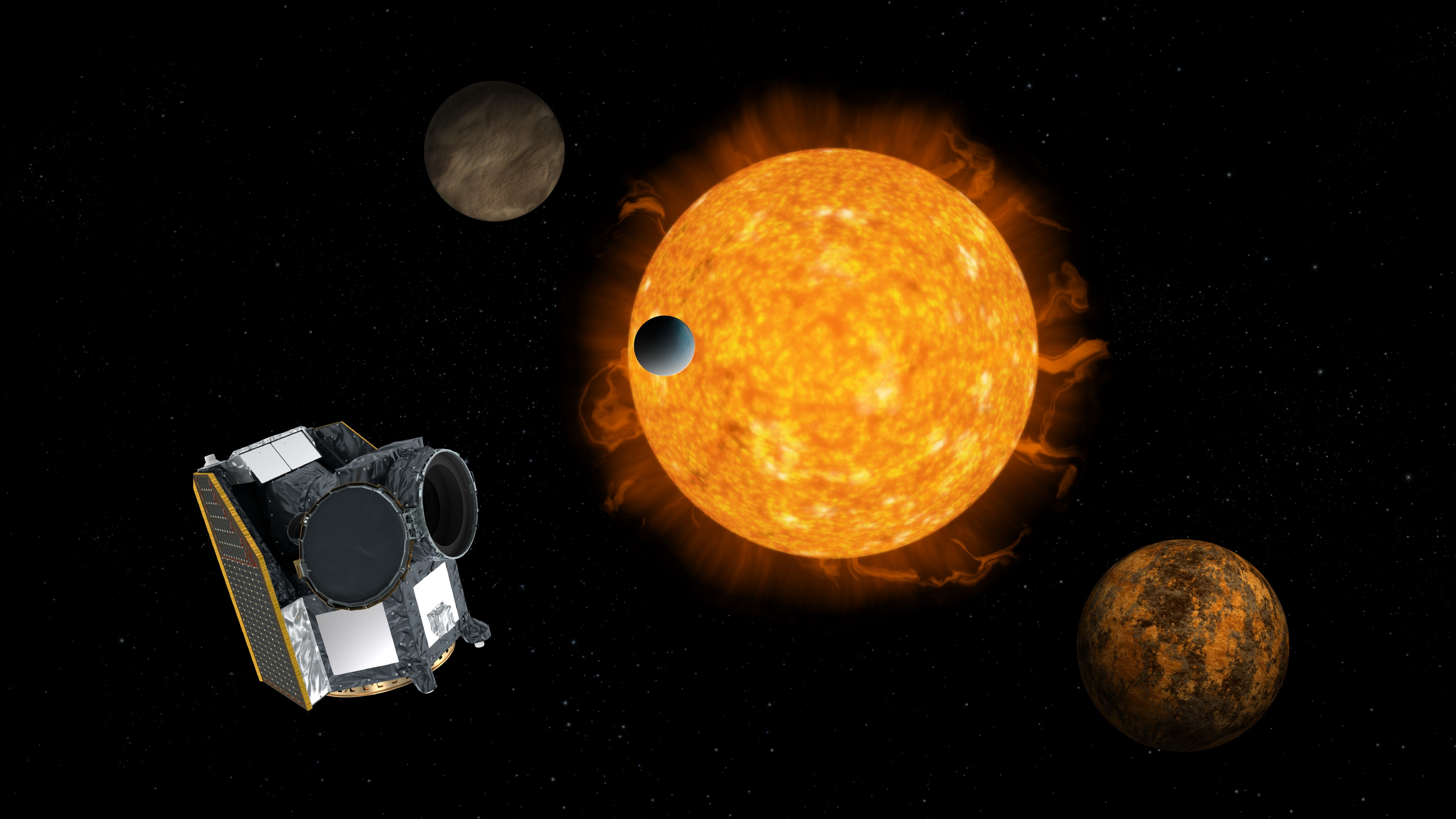 Artist impression of Cheops, the Characterising Exoplanet Satellite, with an exoplanet system in the background.