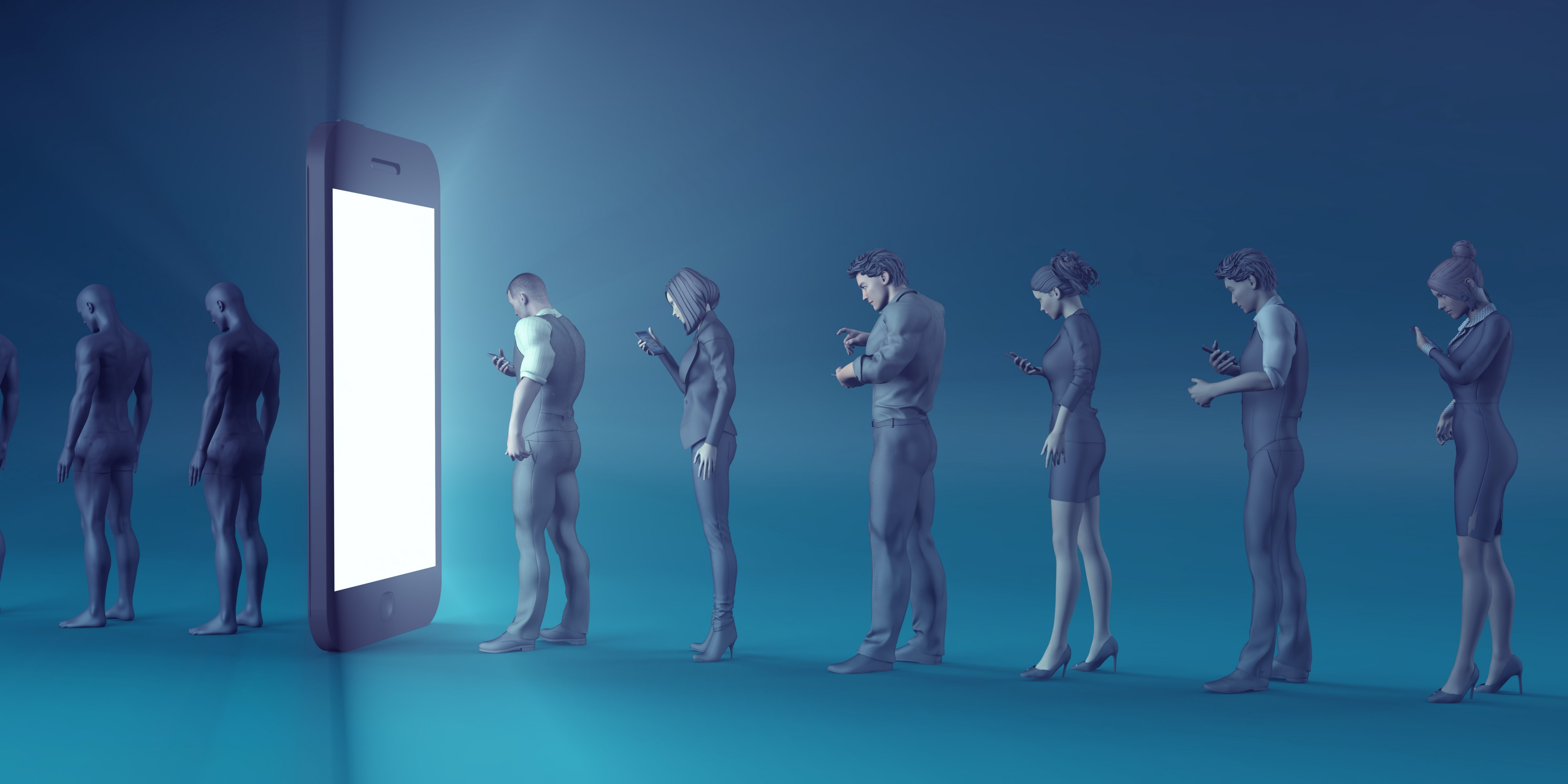 A line of virtual people, fixed on their phones, moving towards a large mobile phone, turning into robots as they pass thru.