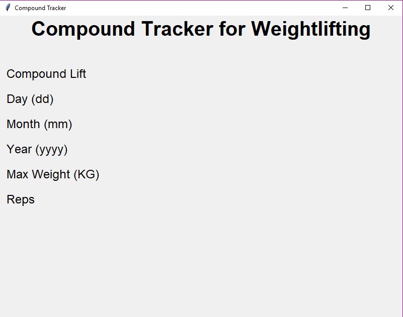 Weightlifting Tracker — GUI with Tkinter and SQLite3