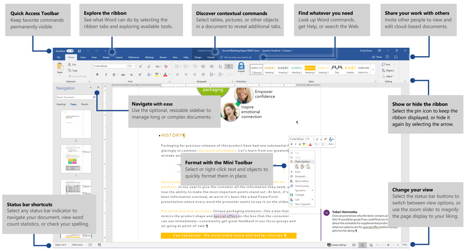 Microsoft Word screenshot with labels