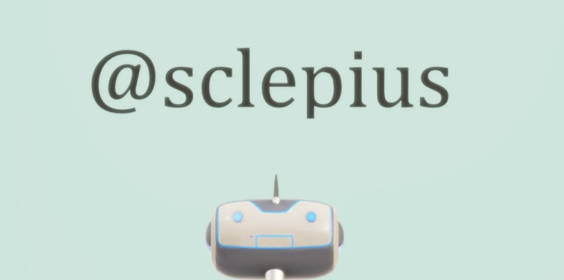 Logo for @sclepius, which has a rectangular robot head peaking out from the bottom.