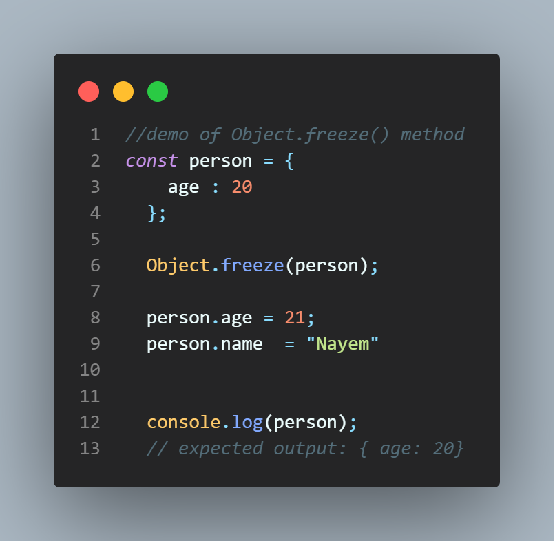 Example for Object.freeze