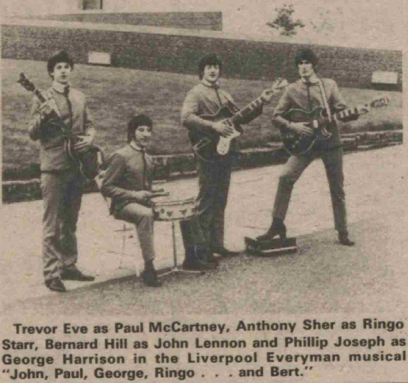The cast of John, Paul, George, Ringo…and Bert in a promotional picture from the front page of The Stage on 30 May 1974.