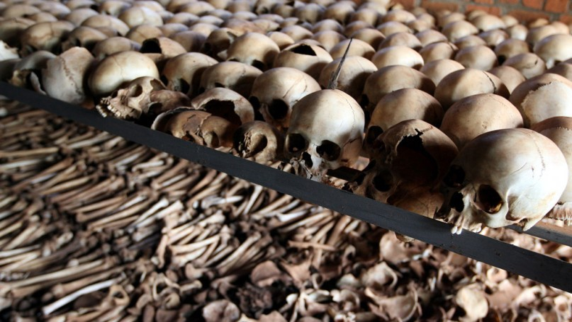 Skulls and bones from the 1994 Rwandan genocide. Photo by DFID