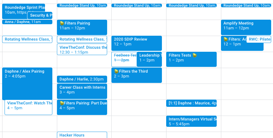 calendar filled with pair programming and pear emojis