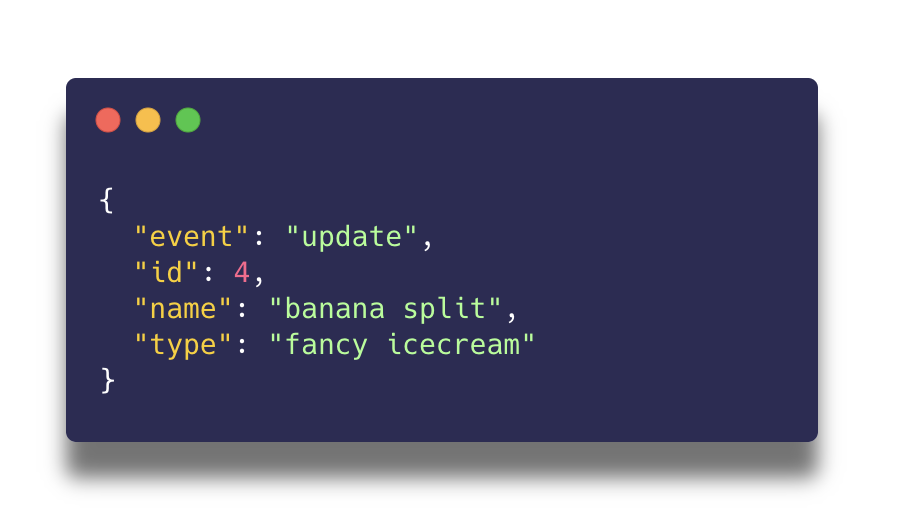 Example of an event-based Webhook payload for updating a flavour