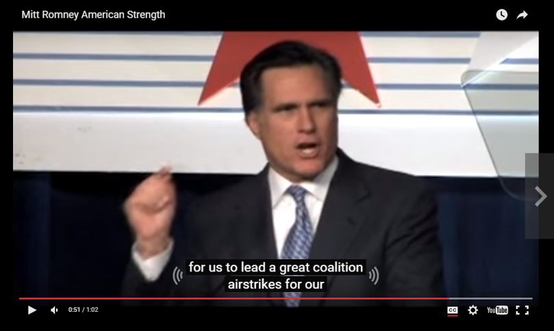 Screen shot of Mitt Romey video hosted on YouTbue with captions turned on