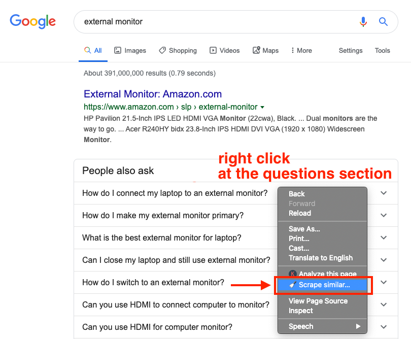 right click at the people also ask questions section