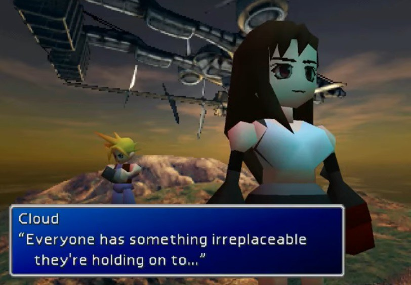 Cloud and Tifa have a deeper conversation under the Highwind airship.