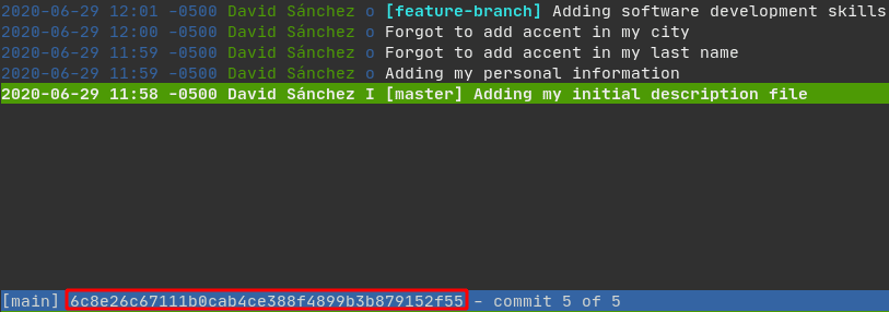 Tig showing that the hash of the oldest commit we want to retain is: 6c8e26c67111b0cab4ce388f4899b3b879152f55