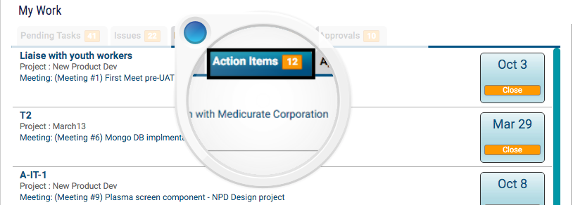 My Pending Meetings Action Items- KPI for Project Team Members