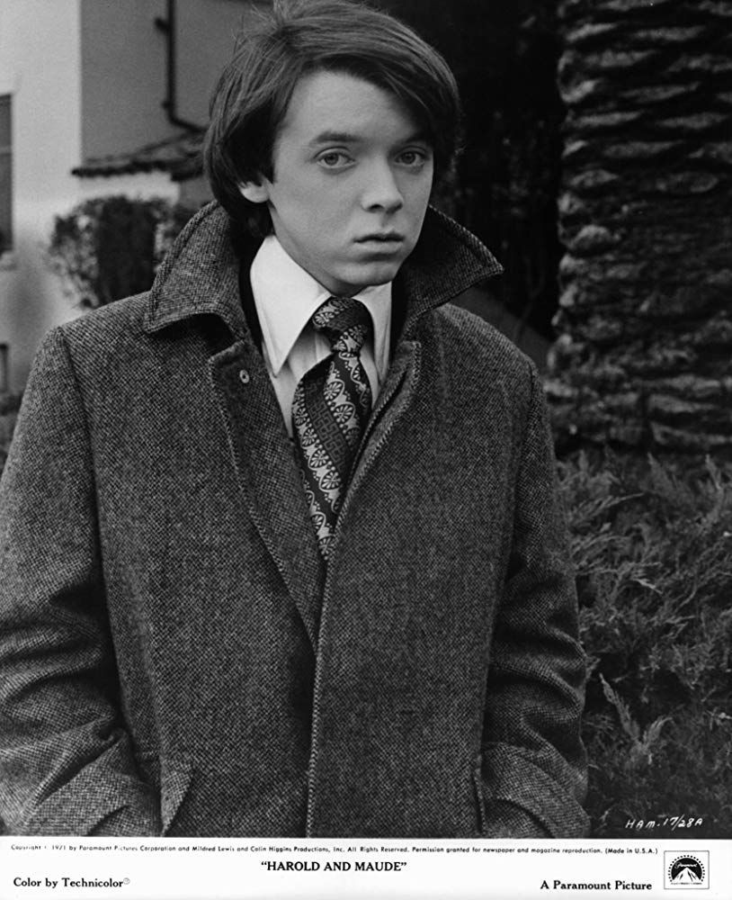 A promotional photograph of Bud Cort as Harold in Harold and Maude (1971)