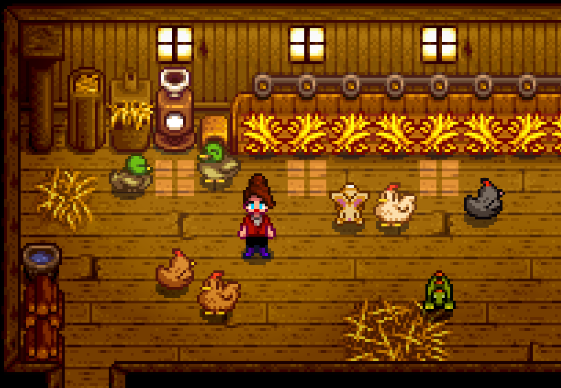 The interior of a chicken coop. There are two ducks, four chickens, a rabbit, a small green lizard, and a woman.