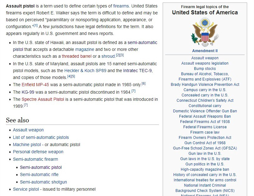 No such thing as an AR pistol in Wikipedia's pro-gun world