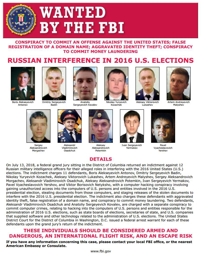 FBI Most Wanted Poster—2016 Russian Interference