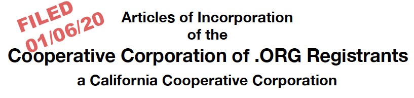 Articles of Incorporation, Filed 01/06/20