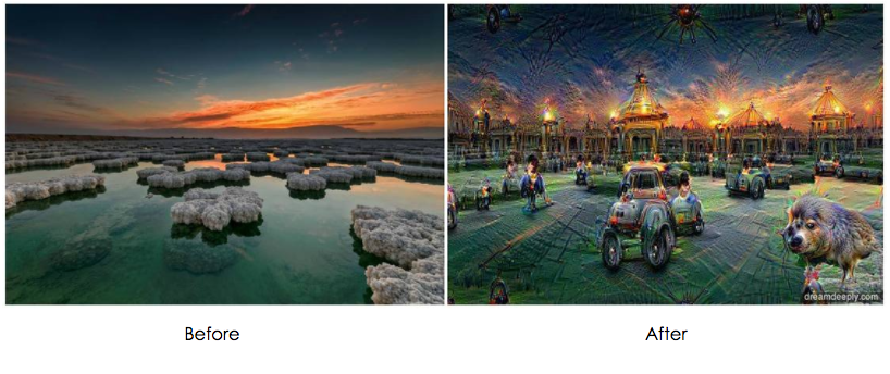 Before and after deep dream: A landscape that has been transformed with dreamy shapes