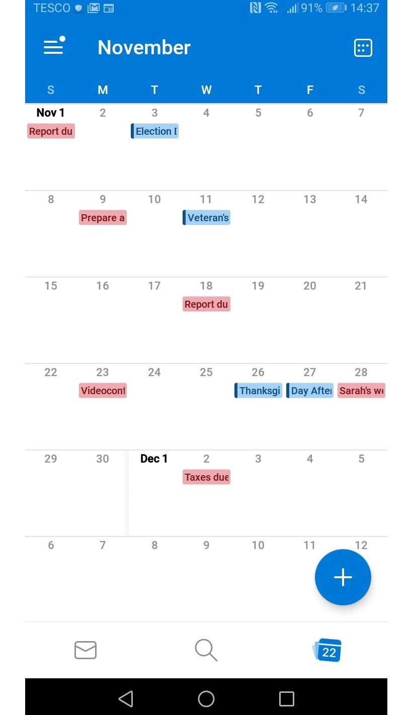 Outlook Calendar Mobile View
