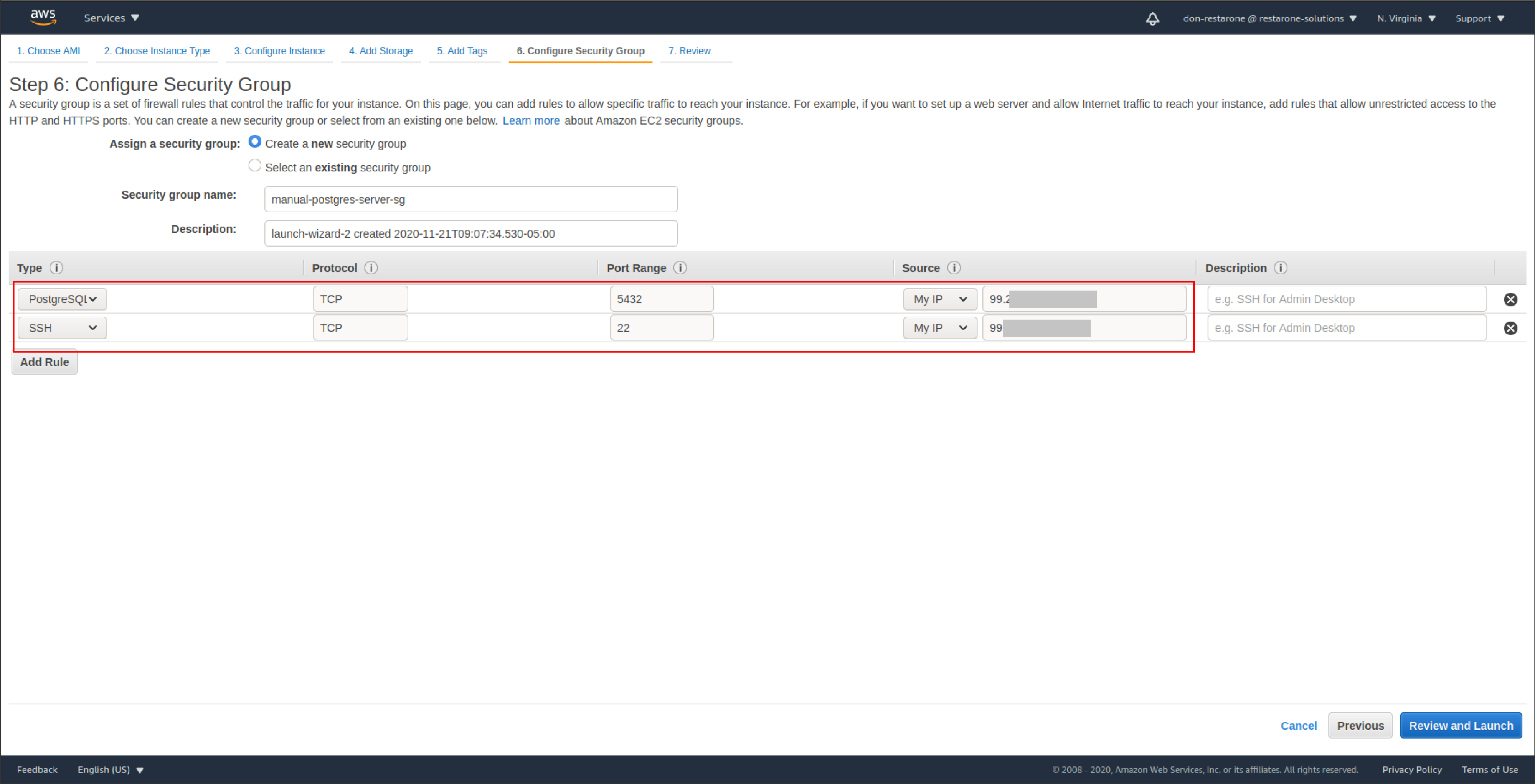 screenshot: Step 6. configure security group with settings to access the server via SSH and the Postgres port