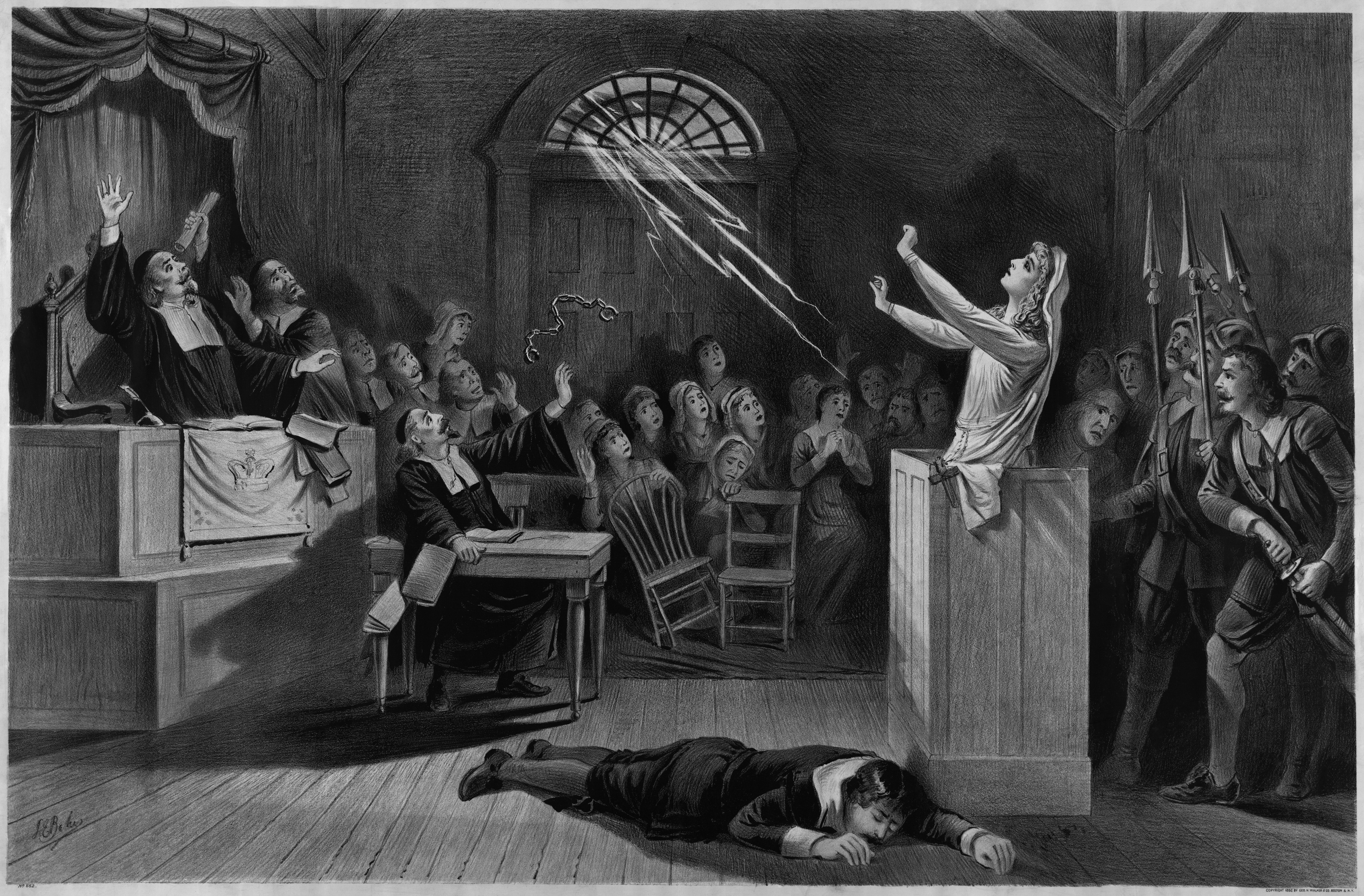 Salem witch trials: an accused witch channels powers from the sky as court members look on in fear