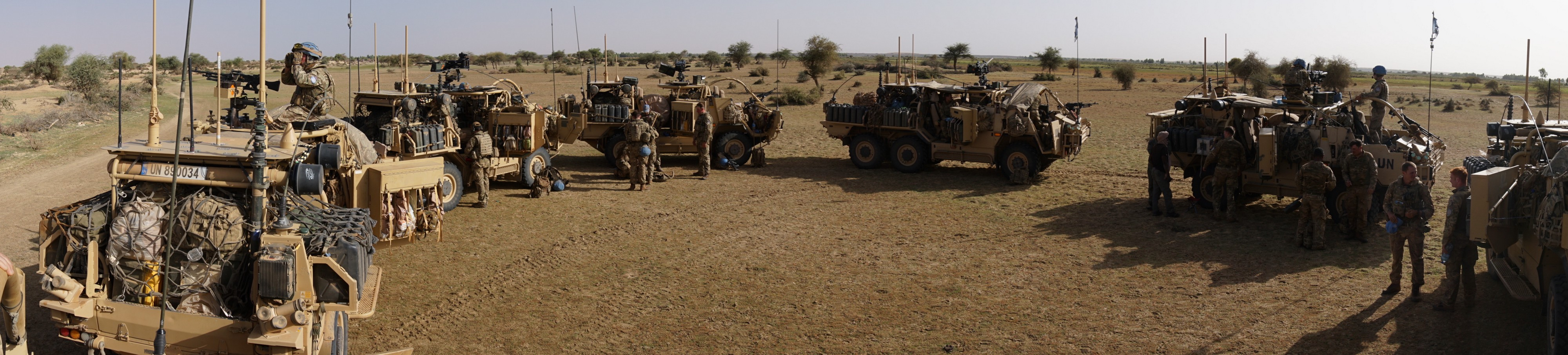 British peacekeepers stop for a break while patrolling through Mali.
