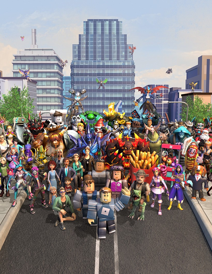 A gathering of Roblox characters in a downtown area, smiling together and waving at the camera.